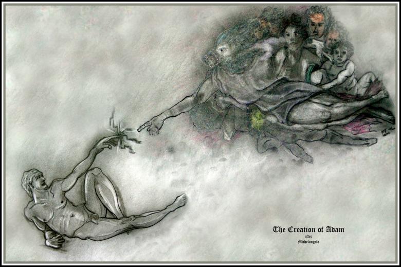 Creation of Adam after Michelangelo