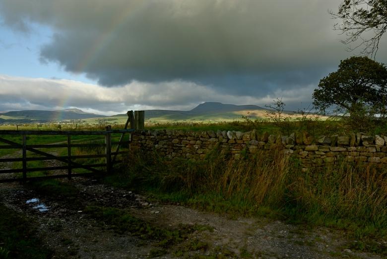 Whernside & Ingleborough under a Rain Cloud and Rain Bow