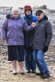 My Sister Margaret and her husband Roy with my wife Irene at the WHALE and DOLPHIN centre Spay Bay on the River Spay estuary, I don't know how Margaret coped with the bitter cold and wind from the Moray Firth.