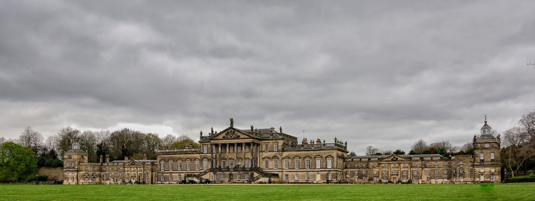 Wentworth Woodhouse, stands in  250 acres of parkland and its East Front of 615 feet wide, its courts and buildings cover three acres or more of ground, and perhaps the largest  country palaces created in the18th century.