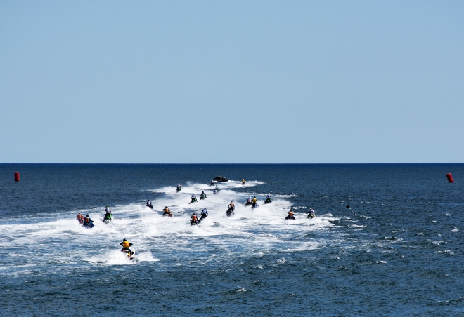 Heading out to the starting line for the second Jet Ski race event.