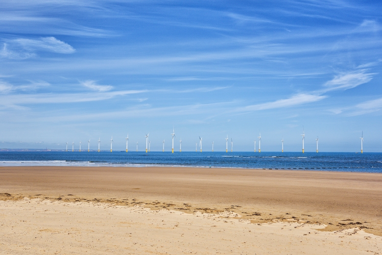 SEASCAPE Redcar is a seaside resort and town with a large wind farm