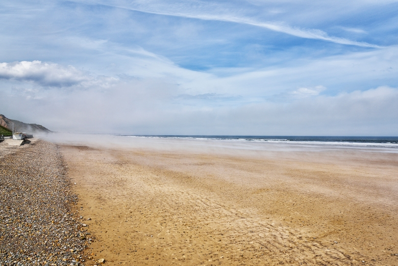 SEASCAPE Saltburn-by-the-Sea beach with a sea fret building on the left of the image